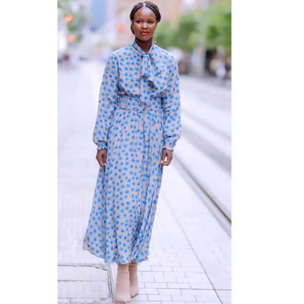 LK Martha Long Sleeve Silk Maxi Dress